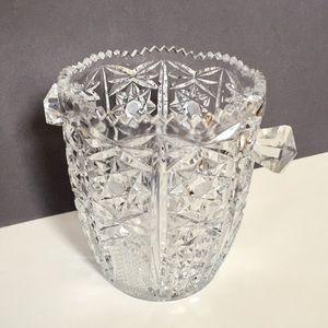 Vintage German crystal diamond cut ice bucket Glam